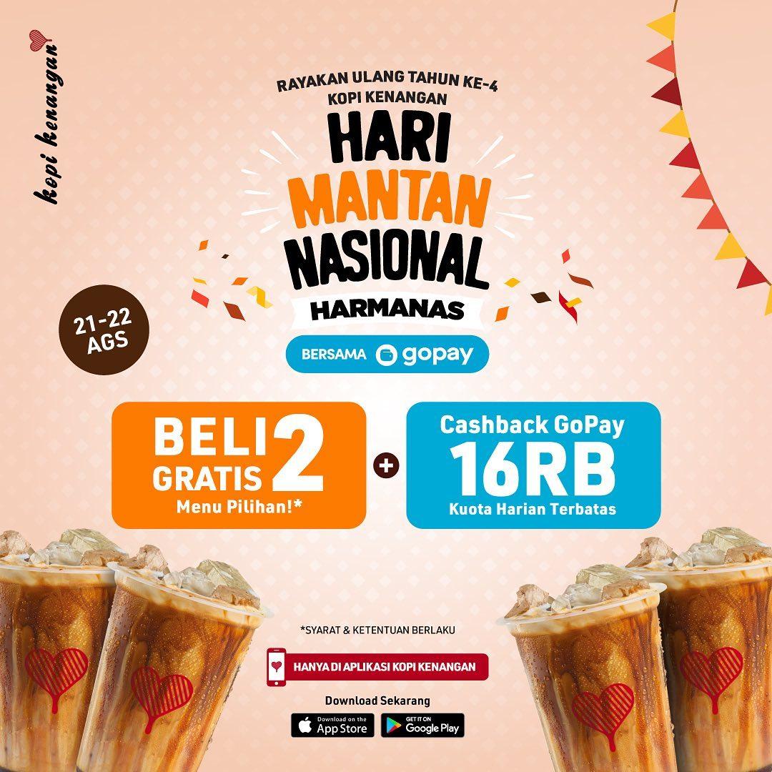 Kopi Kenangan Promo Hari Mantan Nasional - Beli 2 Gratis 2 + Cashback Gopay 16RB