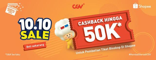 Promo CGV Festival 10.10 Dapat Cashback Hingga 50 Ribu (s.d 10 Oktober 2021)