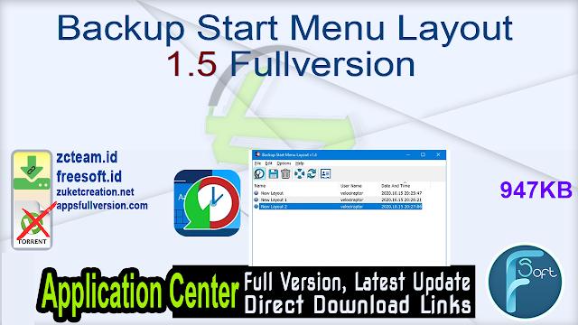 Backup Start Menu Layout 1.5 Fullversion