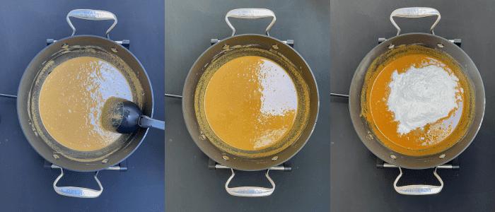 Overhead shot of magaj ladoo mixture in a pan.