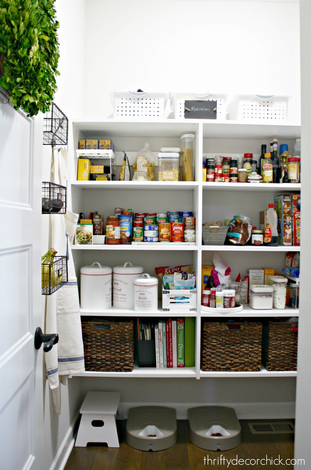 pantry with melamine shelving