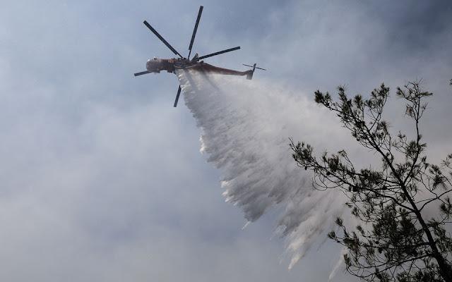 Φωτιά σε δασική έκταση στο Ωραίο στην ορεινή Ξάνθη