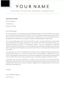 Accounting manager cover letter example