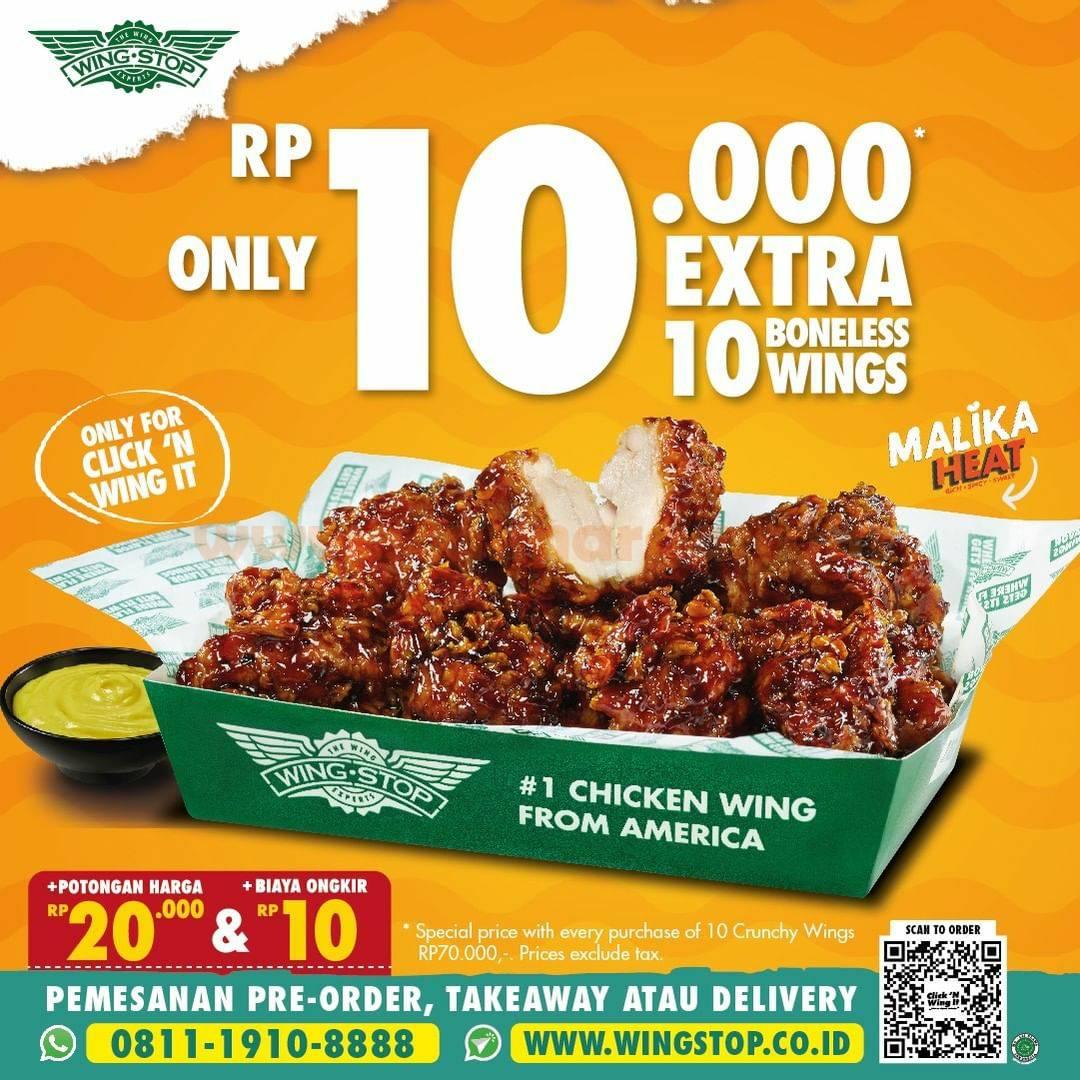 Promo WINGSTOP Harga Spesial 10 Boneless Wings hanya Rp 10.000 aja