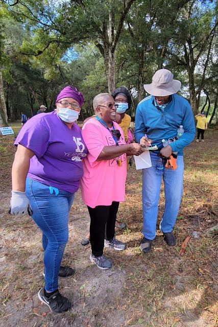 Dana Jones, Ramona Fisher, Mae Victory and Art Butler at the San Sebastian Cemetery