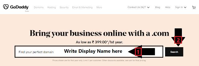 Godaddy Website Interface