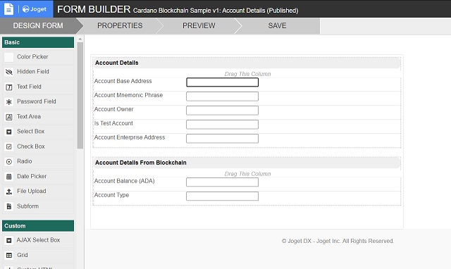 Additional fields for Account Details form