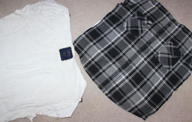 fleece jacket cut into squares