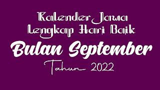 kalender jawa untuk bulan september 2022 - kanalmu
