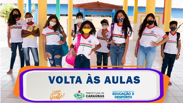 Rede municipal de ensino de Caraúbas retorna com aulas presenciais com 50% dos alunos do Fundamental II e EJA