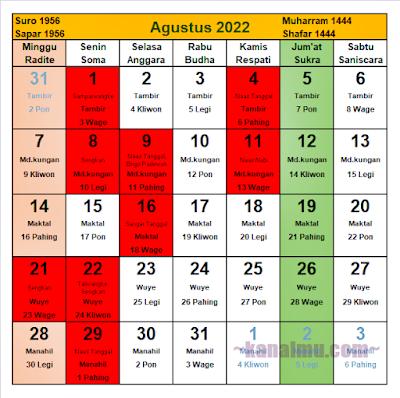 kalender jawa bulan agustus 2022 - kanalmu