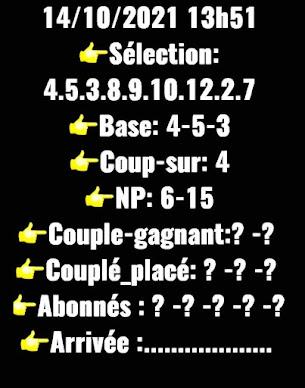 quinté+ Pronostic quinté jeudi 14/10/2021