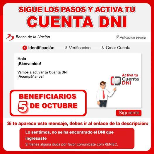 Bono Yanapay 700 y 350 soles: ¿Cuáles son los pasos para activar tu Cuenta DNI?