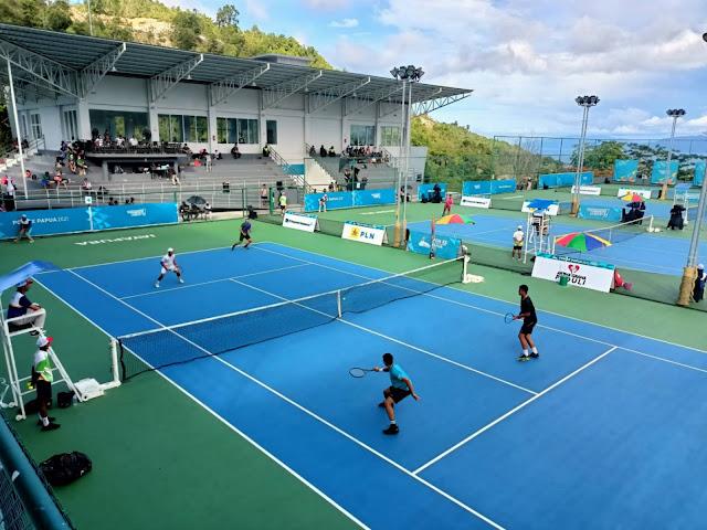 16 Atlet Bertarung Sengit di Semifinal Tenis Lapangan PON XX di Arena Sian Soor.lelemuku.com.jpg