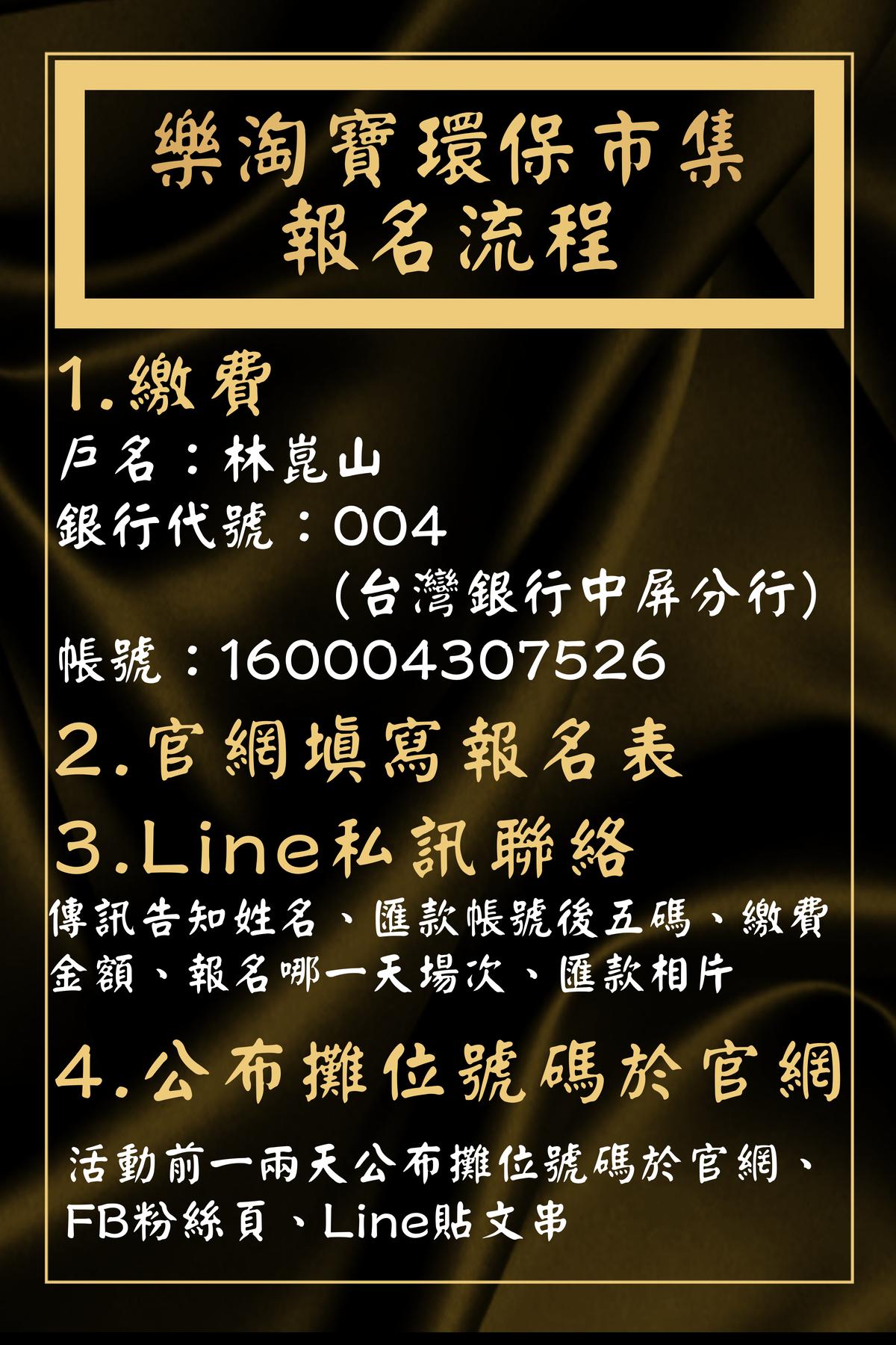 樂淘寶環保市集報名流程:1.繳費;2.寫報名表;3.Line聯絡;4.公布攤位號碼於官網