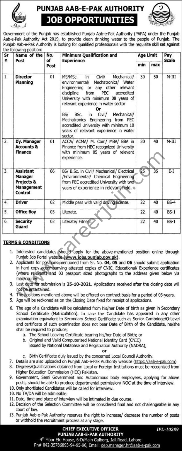 Punjab Aab e Pak Authority PAPA Jobs October 2021