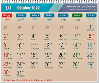 Kalender Bulan Oktober 2022 Lengkap Hari Peringatannya - kanalmu