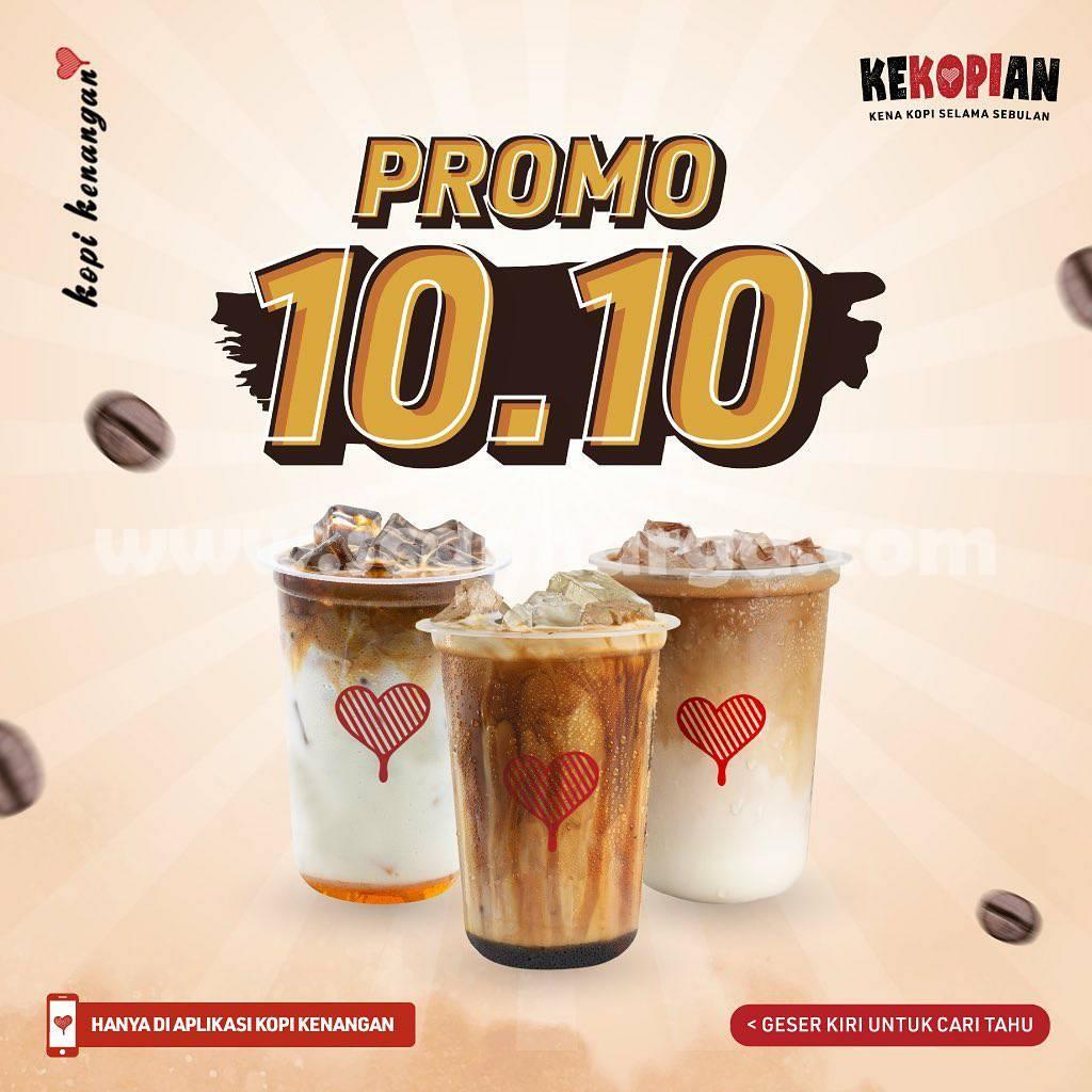 Kopi Kenangan Promo 10.10 Beli 3 Cup Rp. 30.000 / Casback 40% pakai Gopay