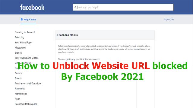 Unblock Website URL blocked By Facebook