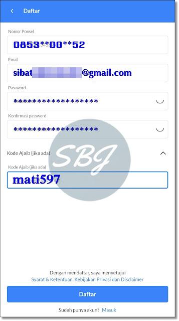 halaman formulir pendaftaran aplikasi ajaib