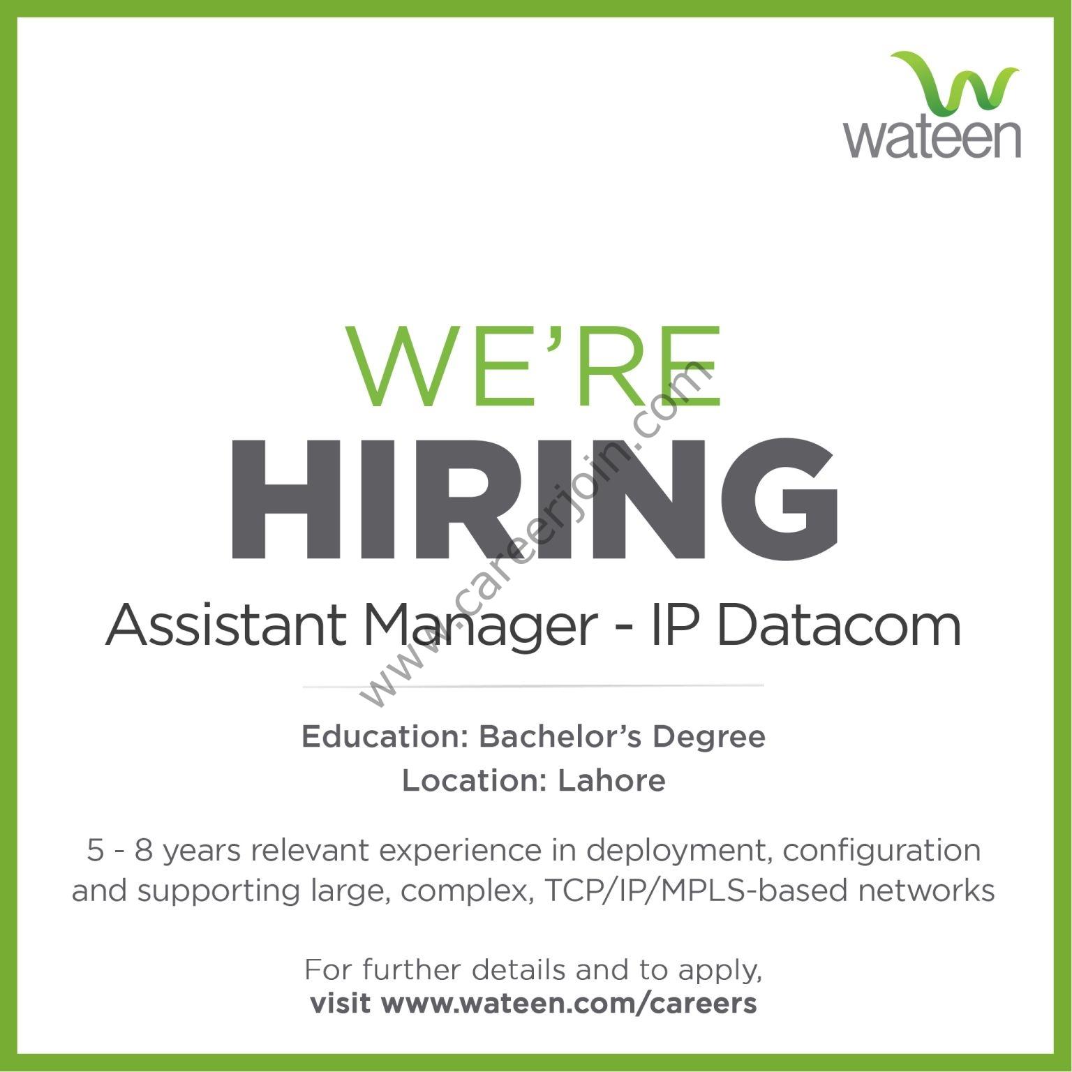 Wateen Telecom Pakistan Jobs Assistant Manager IP Datacom