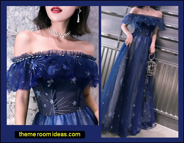 Formal Evening Dress Off Shoulder Short Sleeve Floor Length Tulle with Tier Embroidery