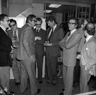 Scalfari and Caracciolo (centre) at the launch of La Repubblica in Rome in 1976
