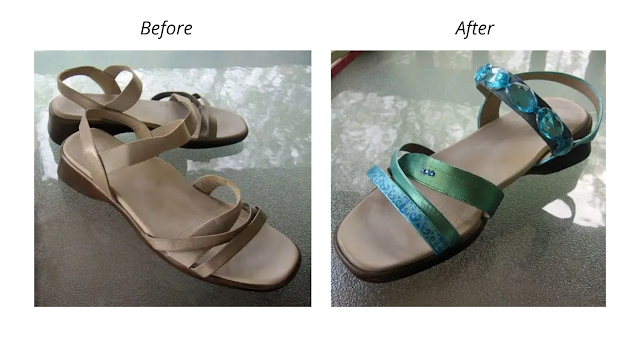 Before and after photos of beige sandals painted aqua and blue