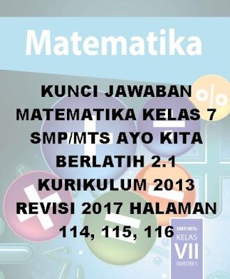 kunci jawaban matematika kelas 7 smp/mts semester 1 ayo kita berlatih 2.1