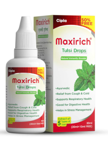 Cipla Maxirich Tulsi Drops - 50% Extra: Concentrated Extract of 5 Rare Tulsi for Natural Immunity Boosting & Cough and cold Relief: (20ml +10ml Free)