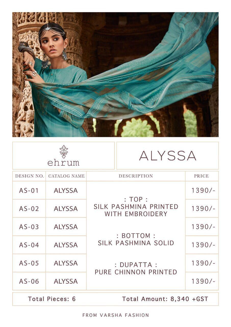 Varsha Ehrum Alyssa Pashmina Suits Catalog Lowest Price