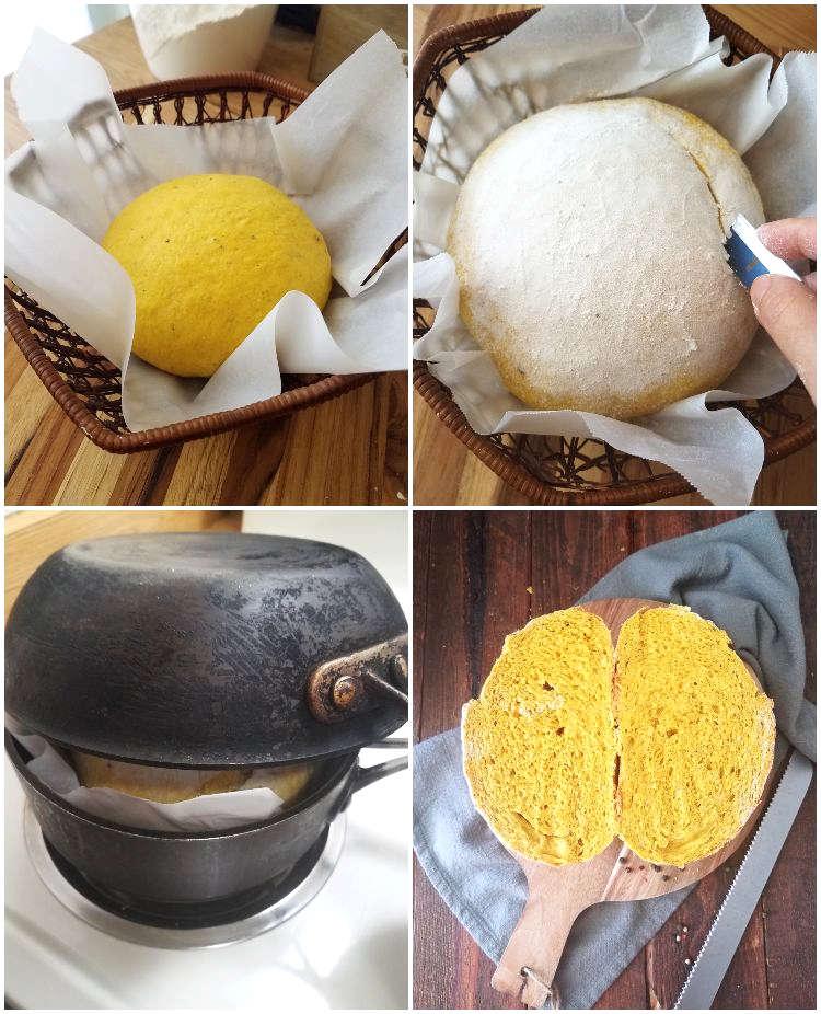 Greñado y horneado del pan de cúrcuma y pimienta