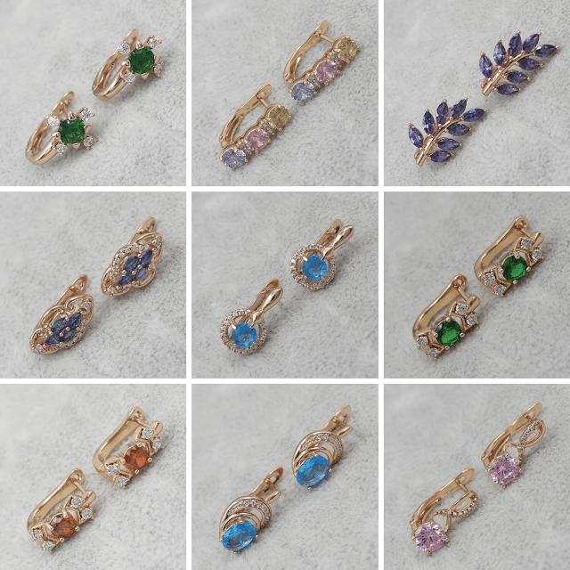 Сережки с камнями Позолота/Мед Золото Xuping Jewelry ™ B2B