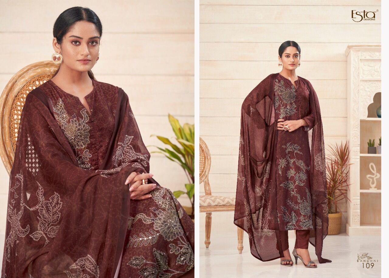 Esta Sahiba Bandhni Pashmina Suits Catalog Lowest Price