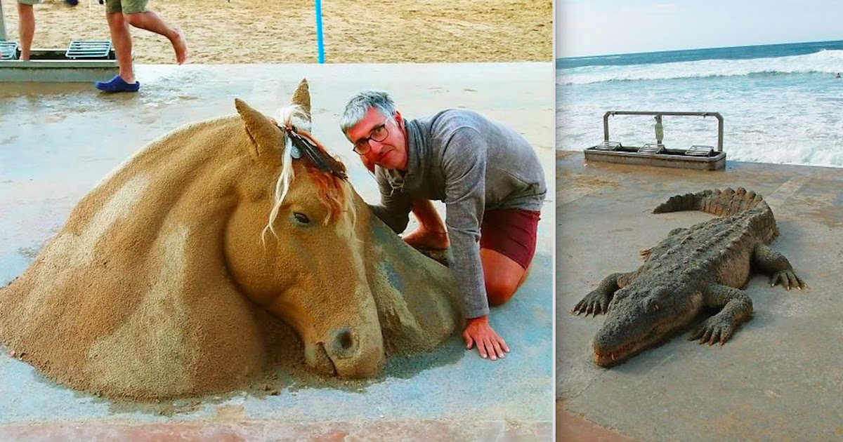 This Artist Creates Incredibly Detailed Sculptures Using Sand, And People Often Mistake Them For Real Animals