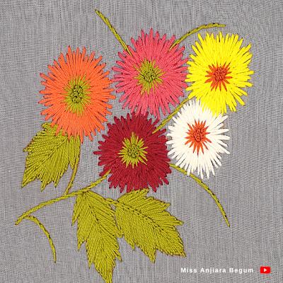Satin Stitch Flower Embroidery Easy, Satin Stitch Flower Petals, Satin Embroidery Tutorial