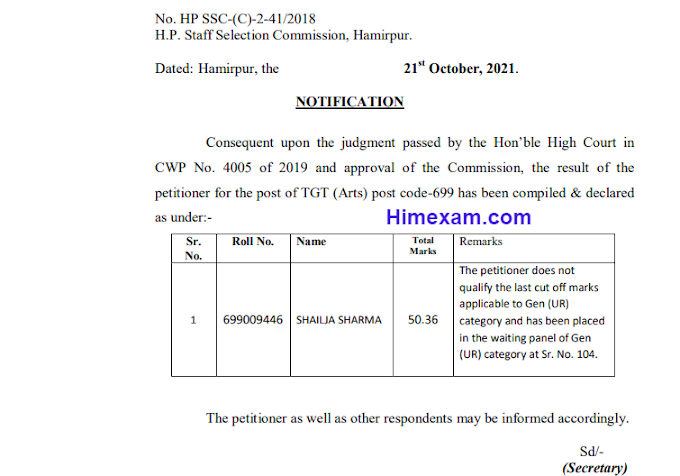 Important notice for the post of TGT (Arts) post code-699:- hpssc hamirpur