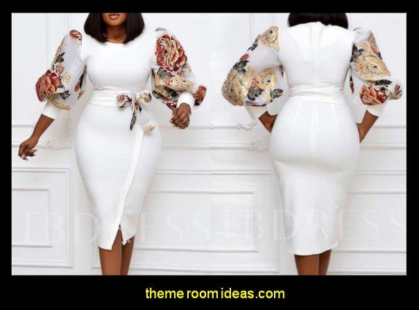 Floral Midi Dress Split Three-Quarter Sleeve Mid-Calf Round Neck Puff Sleeve Women's Dress