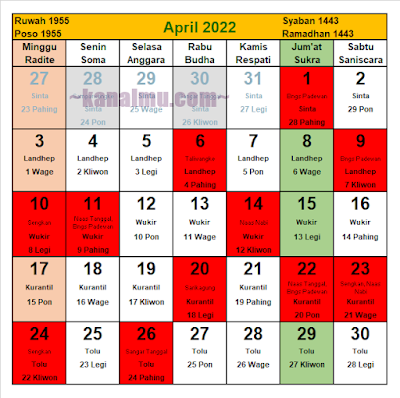 kalender jawa bulan april 2022 - kanalmu