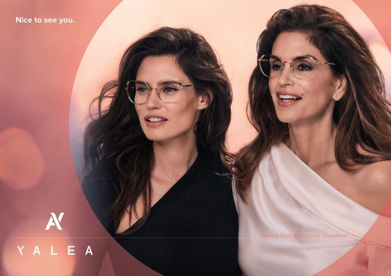 Bianca Balti and Cindy Crawford star in eyewear brand Yalea's fall-winter 2021 campaign.