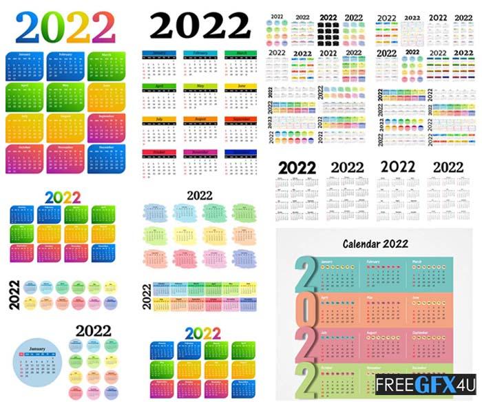 2022 Calendar Design Poster Templates Collection