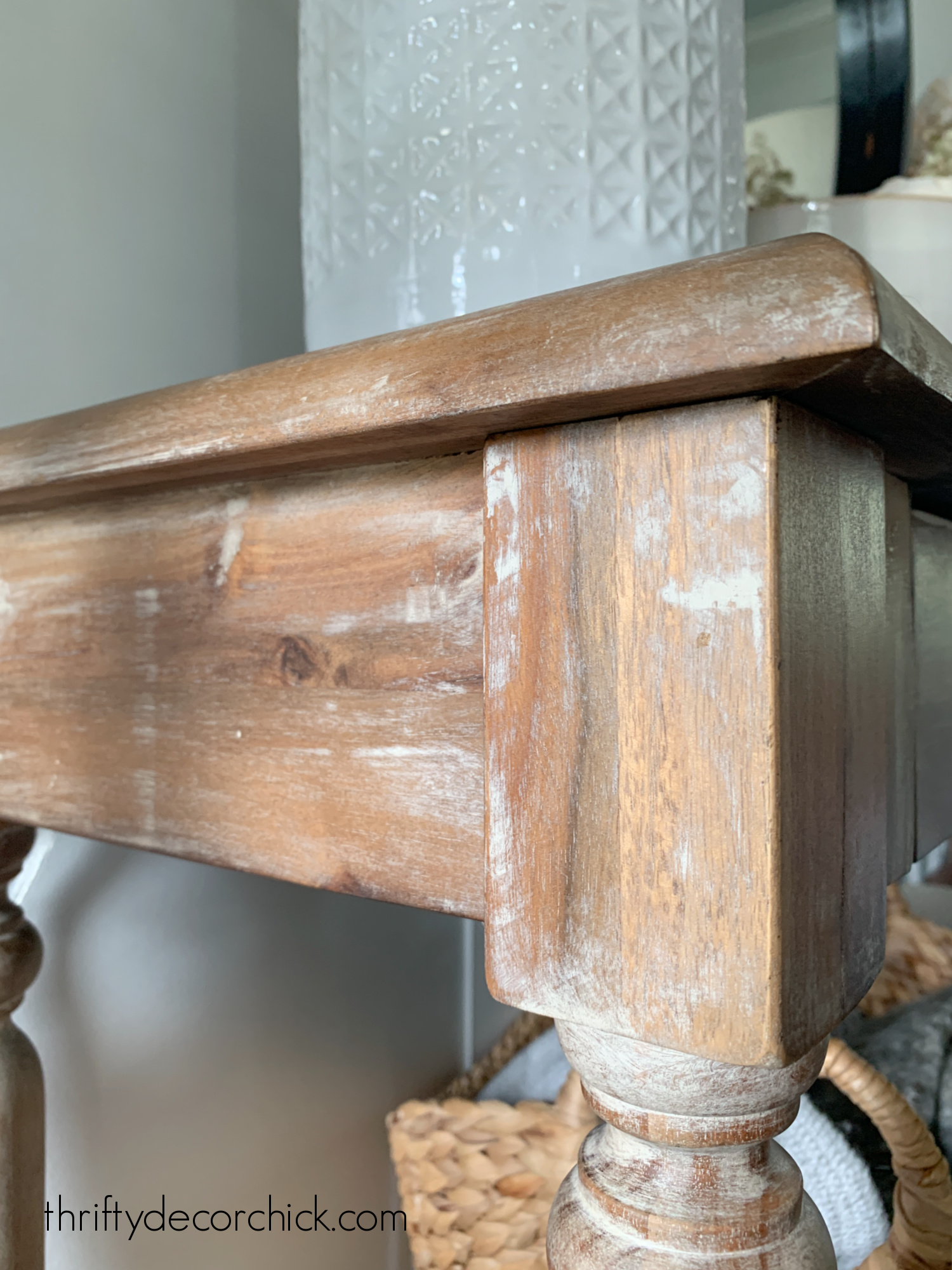 weathered natural finish on Everett table