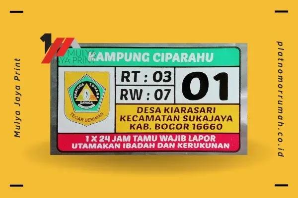 Jual Plat Nomor Rumah di Bogor