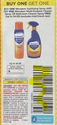 """BOGO fREE Microban Multi-Purpose Cleaner Spray Microban Sanitizing Spray Max Value $4.00 Coupon from """"P&G"""" insert week of 10/2/21."""
