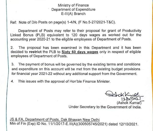 खुशखबरी: डाक विभाग के कर्मचारियों के लिए 60 दिन के दिवाली बोनस पर वित्त मंत्रालय से मिली हरी झंडी
