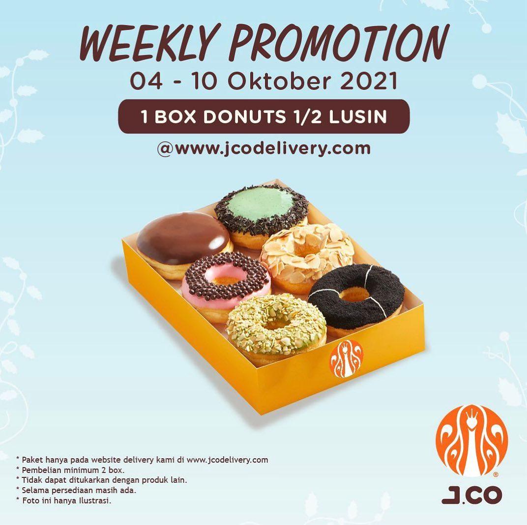 Promo JCO Minggu Ini Weekly Promotion – Beli 1 box donuts 1/2 lusin Rp 42.500