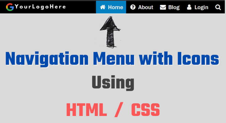 Navigation Menu with Icons using html css