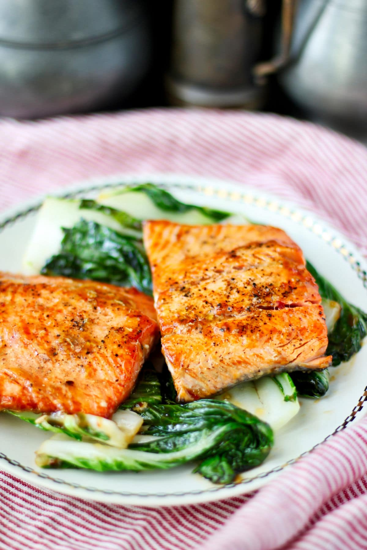 Chili-Glazed Salmon for Two on a platter