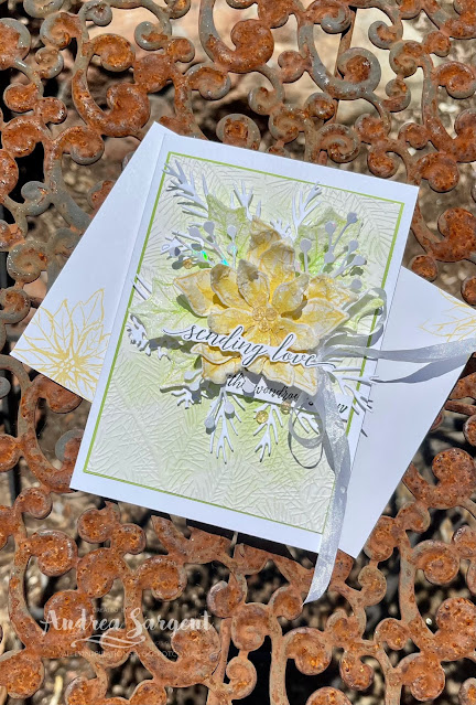 Send love to family of friend by creating a Poinsettia Petals Christmas card, by Andrea Sargent, Australia.