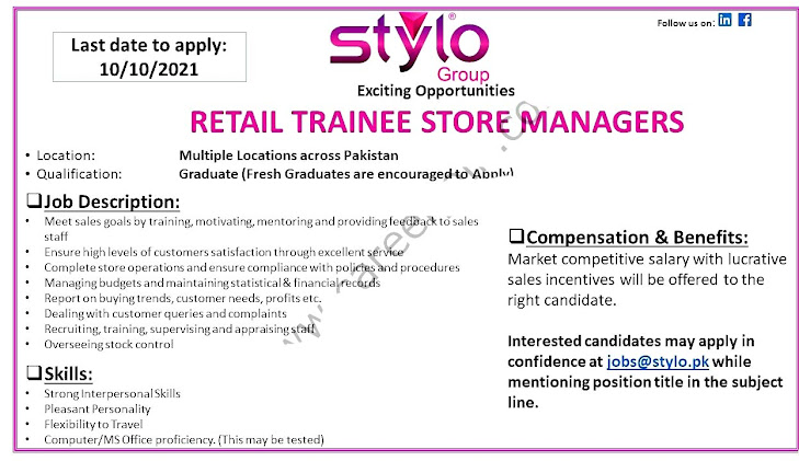 Stylo Pvt Ltd Latest Jobs For  Retail Trainee Store Officers